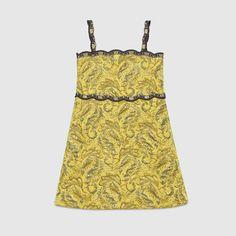 Gucci Children's brocade jacquard dress with grey embroidered trim. Brocade Dresses, Jacquard Dress, Moda Kids, Gucci Dress, Gucci Kids, Kylie, Glamour, Little Fashionista, Girls Shopping