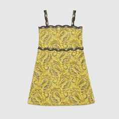 Gucci Children's brocade jacquard dress with grey embroidered trim.