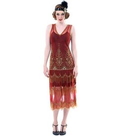 1920s Style GATSBY Red Gold Beaded Layer FLAPPER Dress-XS,S,M,L,XL or 2X