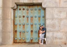 This gorgeous blue door/wall is under the Ben Franklin Bridge in Philly and provides the perfect engagement shoot background!