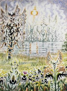 Charles E. Burchfield (1893-1967), Fantasy of Heat, 1952-58; watercolor on paper, 40 x 30 inches; Private Collection, Image from the Burchfield Penney Archives