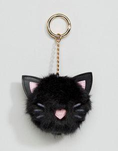 ASOS - Portachiavi oversize con pompon con gatto