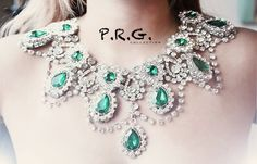 Our Large Emerald Green Princess Diana Necklace is extraordinary. Literally hand soldered to perfection- this piece shows the delicate workmanship of a traditional HANDMADE jewelry shop. THE RUGGED RO