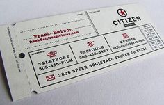This is a cool business card for Citizen Pictures. The card really looks like a movie ticket.