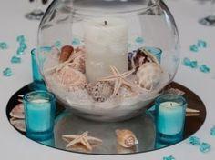 Pin by irenst on Kerzen + Deko Seashell Crafts, Beach Crafts, Beach Wedding Centerpieces, Sea Theme, Mermaid Birthday, Centre Pieces, Beach House Decor, Beach Themes, Coastal Decor