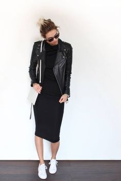 leather moto jacket, knee length body-con dress, + sneakers | Skirt the Ceiling | skirttheceiling.com