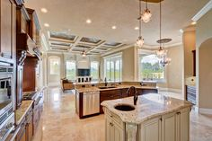 The Kitchen features granite counters, custom wood cabinetry, and luxury Thermador appliances.