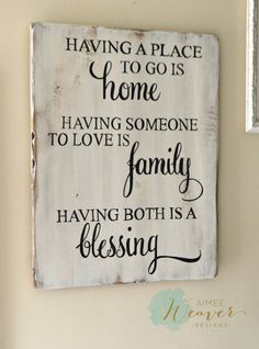 "Wood Signs ""Having a place to go is home"" Wood Sign {customizable} - Aimee Weaver Des. Pallet Crafts, Pallet Art, Pallet Signs, Pallet Projects, Wood Crafts, Projects To Try, Diy Wood, Wood Signs For Home, Family Signs"