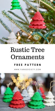Christmas crochet ornaments are the perfect handmade gifts. Rustic tree ornaments are a fun and easy holi Christmas crochet ornaments are the perfect handmade gifts. Rustic tree ornaments are a fun and easy holiday project. Crochet Christmas Decorations, Crochet Christmas Ornaments, Crochet Decoration, Holiday Crochet, Handmade Christmas Gifts, Christmas Knitting, Handmade Gifts, Rustic Christmas, Christmas Christmas