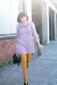 Lavender and mustard. My favorite fall combo. Orange Tights, Colored Tights Outfit, Coloured Tights, Frock Fashion, Fashion Tights, Fashion Outfits, Fall Dresses, Cute Dresses, Lavender Dresses