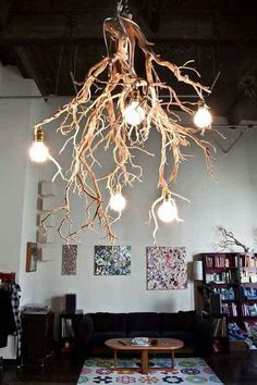 Tree branch chandelier ideas and crafts home decor wood lamps wooden lamp light fixture single