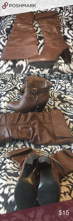 """Brown Boots size 10 Brown boots size 10; brown stacked 2"""" heel. Good condition; minor scuffs on toe from wear Shoes Heeled Boots"""