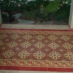 Avente Tile Project: Cement tile #rug for an outdoor walkway