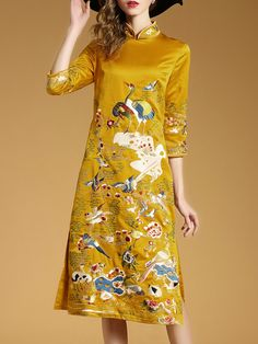 Shop Yellow Collar Birds Embroidered Shift Cheongsam Dress online. SheIn offers Yellow Collar Birds Embroidered Shift Cheongsam Dress & more to fit your fashionable needs.
