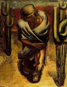 "Peasant Mother. 1929 | by David Alfaro Siqueiros | Oil on burlap (249 x 180 cm). Museum of Modern Art, Mexico, Mexico. David Alfaro Siqueiros (1896 – 1974) was a Mexican painter and one of the founders of the Mexican Mural Movement, one of the ""Big Three"", with Jose Clemente Orosco and Diego Rivera."