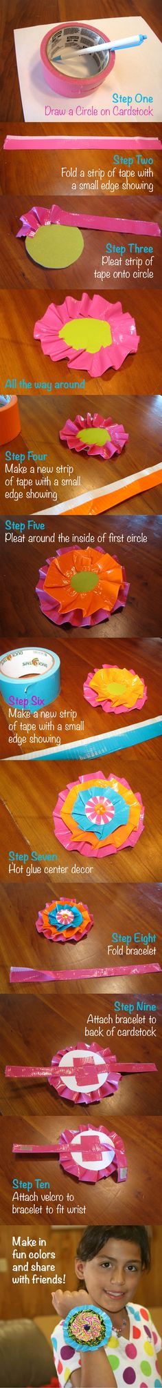 Make one, Share one. Duct Tape Flower Bracelet- Adapted from duct tape book Crazy Cool Duct Tape Projects by Marisa Pawelko