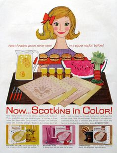 1960 Scotkins Paper Napkins Ad - Scotkins in Color - 1960s Kitchen Ads - Cartoon Style Art Illustration