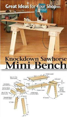 Knockdown Sawhorse Mini Bench #woodworkingbench Essential Woodworking Tools, Antique Woodworking Tools, Woodworking Bench Plans, Unique Woodworking, Cool Woodworking Projects, Woodworking Workbench, Popular Woodworking, Woodworking Furniture, Woodworking Classes