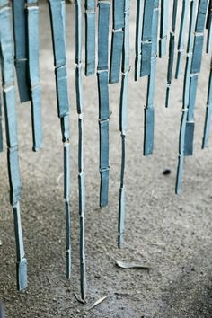 blue ceramic wind chime curtain by artist Stan Bitters