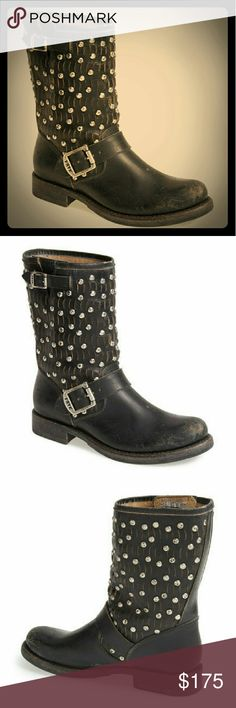 Frye 'Jenna Cut Stud Moto' Boots Hammered studs and curvy cutouts amp up the dimensions of a street smart Moto boot bookended with adjustable buckles. Bench crafted by hand, Frye's 10 - year-old heritage of quality leather work is evident in every detail. Frye Shoes Combat & Moto Boots