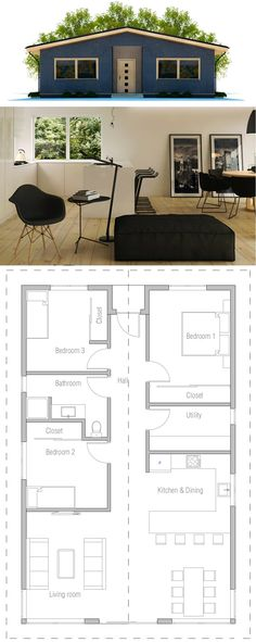 Small House Plan, New Home Plan, Floor Plan, Architecture, House Floor Plans
