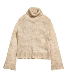 Chunky-knit Turtleneck Sweater | Light beige | Ladies | H&M US