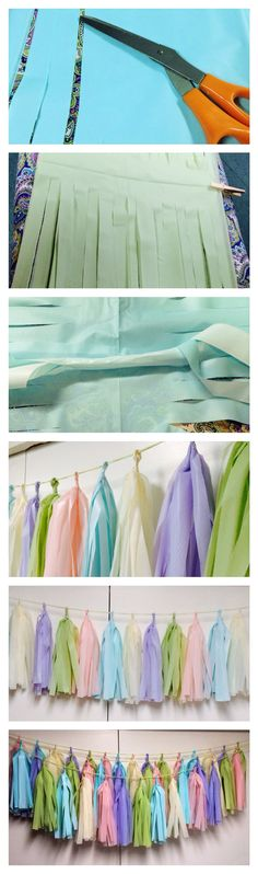 PASTEL BABY SHOWER - DIY STREAMERS/TASSELS MADE FROM PLASTIC TABLECLOTHS.