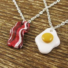 Another cute BFF necklace set - because we go together like bacon & eggs :P
