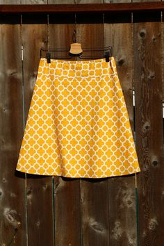 A Line Skirt, Geometric Quatrefoil in Mustard , Choose any color, Custom Made, Custom Made in ALL lengths and sizes petite to plus Creation Couture, Free Studio, Couture Sewing, Extra Fabric, Quatrefoil, Mustard Yellow, Dressmaking, A Line Skirts, Fabric Design