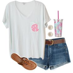 """""""Monogrammed Tee"""" by preppyoutfitsdaily on Polyvore"""