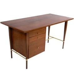 Clean Lined Walnut and Brass Desk by Paul McCobb