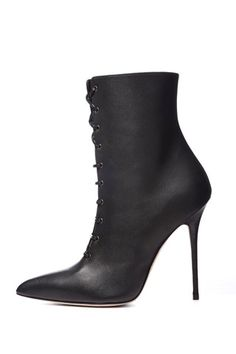 Manolo Blahnik Black Lace-Up Stiletto Boots Fall 2014 #Manolos #Booties #Shoes