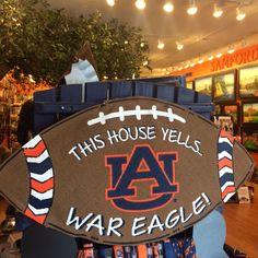 Perk up your porch or front door with our Auburn football door hanger. This painted, stuffed, burlap door decor arrives ready to hang.