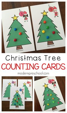 Free printable Christmas tree counting cards!  Practice numbers, fine motor skills, math, and even science with preschoolers! Preschool Themes, Preschool Christmas Activities, Preschool Math, Preschool Lessons, Math Activities, Kindergarten, Free Christmas Printables, Christmas Tree Printable, Noel Christmas