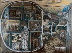 """William Kurelek, The Maze. As a young man, Kurelek was admitted to the Maudsley Psychiatric Hospital where he was treated for schizophrenia. In the hospital he painted """"The Maze,"""" a depiction of his. Vincent Van Gogh, Leicester, William Kurelek, Bethlem Royal Hospital, Horror Vacui, Recurring Nightmares, Old Hospital, Labyrinth, Psychiatric Hospital"""
