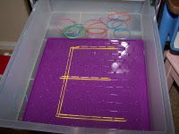 Alphabet Letters on a Geoboard - Great idea.