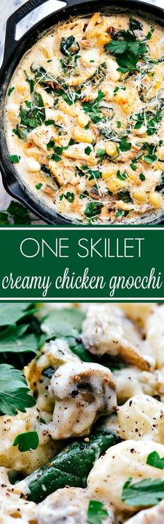 Easy 20 minute prep ONE SKILLET creamy chicken gnocchi. Going to change a few ingredients to make heart healthy; cream instead of the milk & flour, (cream has no carbs) and the traditional potato gnocchi - replaced by a spinach-ricotta gnocchi. Pasta Recipes, Chicken Recipes, Dinner Recipes, Cooking Recipes, Healthy Recipes, Skillet Recipes, Skillet Meals, Recipe Chicken, Skillet Pan