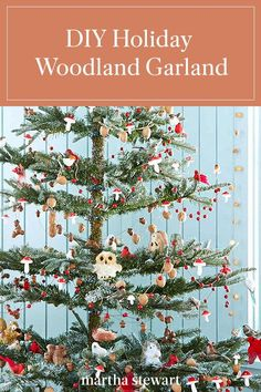 This holiday make this charming woodland garland in just a few steps by following our simple tutorial. The little critters on our fall garland are perfect to be placed around the Christmas tree. #marthastewart #christmas #diychristmas #diy #diycrafts #crafts