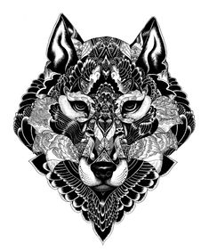 Zentangle wolf - Wildlife part 2 by iain macarthur, via Behance