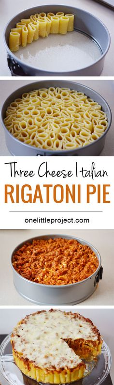 How fun is this? Stand up rigatoni noodles in a spring form pan and suddenly you have rigatoni pie, a fun and totally different way to serve pasta when you are in a slump! dinner for three Three Cheese Italian Rigatoni Pie Rigatoni Pie, Rigatoni Recipes, Baked Rigatoni, I Love Food, Good Food, Yummy Food, Cheese Recipes, Cooking Recipes, Vegetarian Recipes
