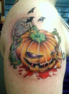 #bloody pumpkin #full moon #bats #candy corn #tattoo