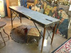 "1923 Chiropractic Table Great industrial look. 68.5"" Long x 18"" Wide x 28"" High $425 Urban Relics Dealer #724 White Elephant Antiques ..."