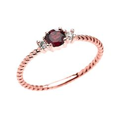 14k Rose Gold Dainty Solitaire Garnet and White Topaz Rope Design StackableProposal RingSize 12 *** You can find more details by visiting the image link.(This is an Amazon affiliate link and I receive a commission for the sales)