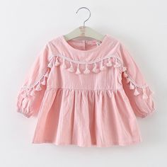 16.65$  Buy here - http://ali0q4.shopchina.info/go.php?t=32609408583 - Baby Girls Bohemian  Dress Spring Summer Autumn Fringe Decor Lady Style Cotton Solid Long Sleeve Candy Color Kids Clothes  #SHOPPING