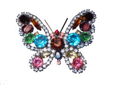 Kenneth Jay Lane (KJL) Large Vintage Signed Multi-Color Swarovski Crystals Figural Butterfly Brooch/Pin light blue trim by BeccasBestJewelry on Etsy