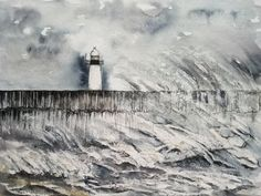 Original watercolor painting of a strong lighthouse in the storm. A3 size. Watercolours, Watercolor Paintings, Multimedia Arts, A3 Size, Gouache, Lighthouse, Strong, The Originals, Artwork