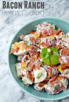 Bacon Ranch Potato Salad: This unique spin on potato salad is easy to make and will be a huge hit at your next potluck or picnic. Mmmmm...#bacon