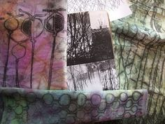 ▶ Exploring Monoprint - great tutorial on doing Trace Monotype or Transfer Drawing over previously printed fabric!