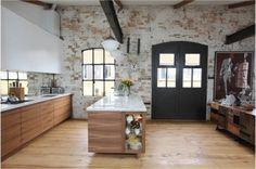 Luxurious 15 Industrial Kitchen Style Designs 2015, Scandinavian Brick Walls, Wooden Flooring, Pipes