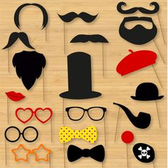 """DIY Photo Booth Props - Classic Moustaches, Beards, Glasses, Hats, Bowties--do """"German"""" theme Photobooth Ideas, Photobooth Props Printable, Wedding Photo Booth Props, Party Props, Diy Fotokabine, Fun Diy, Photos Booth, Diy Wedding, Wedding Signs"""